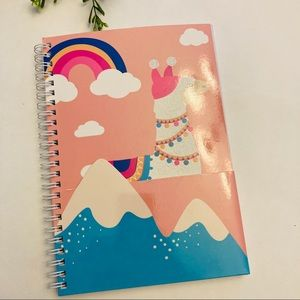 Llama rainbow small pink spiral notebook n…